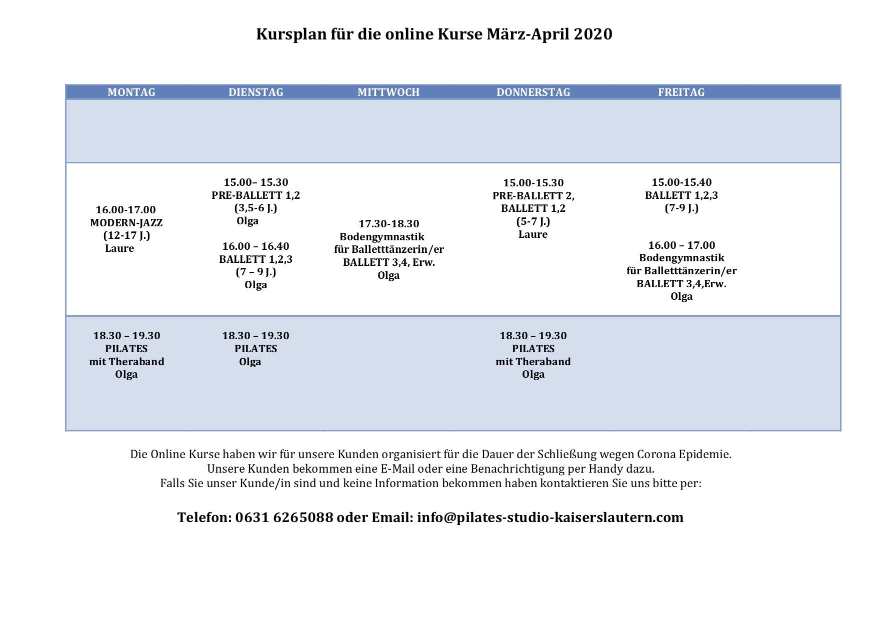 Ballettschule Kaiserslautern Online